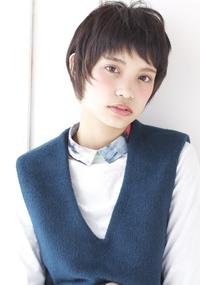 黒髪風アッシュ シュートバングショートA168