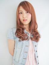 オレンジピンクのゆるふわパーマ|ALVIVE 岡本店のヘアスタイル