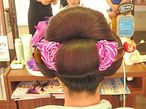 日本髪に洋花