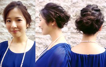 アレンジは髪の多い方もどこかに編み込みをいれたり、いれる場所によっても大人ぽくも可愛くもできます。|hair Launge TRiPのヘアスタイル