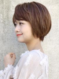 大人かわいい 斜め前髪 ショートヘア