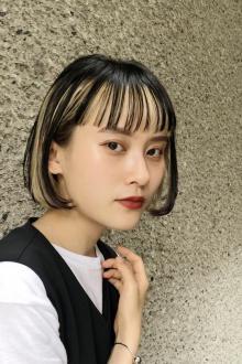 インナーカラーボブ ハイライト|ACQUA aoyamaのヘアスタイル