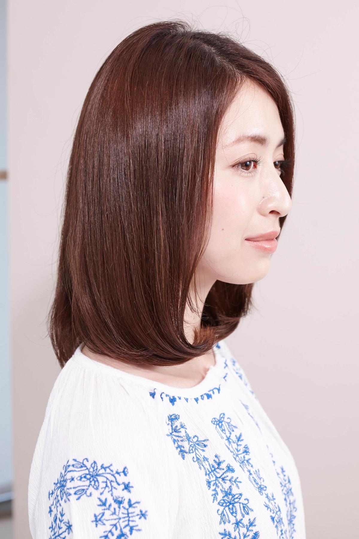 素髪感覚の髪質を取り戻したAラインフォルムのツヤヘア