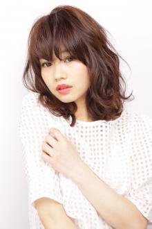 少女から大人に変身した暖色系カラーの可愛いAライン AFLOAT GINZAのヘアスタイル