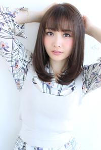 暗髪カラーのミディアム【H-492】