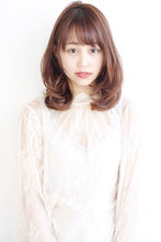ツヤ髪ピンクカラー フェミニンミックスパーマ|ALICe by afloatのヘアスタイル