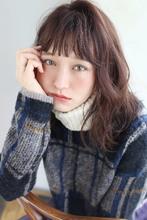 ボルドーカラー ウェーブミディ【y−401】|ALICe by afloat 松盛 友美子のヘアスタイル