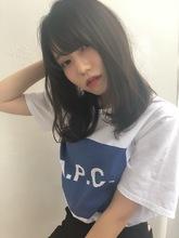 女子アナ風カジュアルセミディ【ネイビーグレージュ】U-220|ALICe by afloatのヘアスタイル