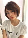 女子アナ風小顔ショートボブ【ラベンダーグレー】U-234