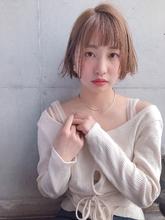 外ハネボブ 春色 ミルクティーベージュ【y−452】|ALICe by afloat 松盛 友美子のヘアスタイル