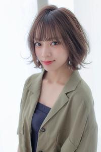 小顔ウェーブミディ【ラベンダーアッシュ】U-251