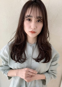 大人の無造作デジタルパーマ 透け暗髪カラー