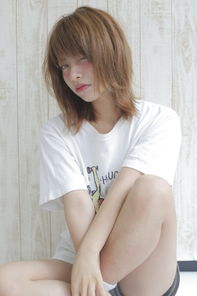 伸ばしかけ外ハネ【ラフセミディ】 allys hair shinsaibashi OPAのヘアスタイル