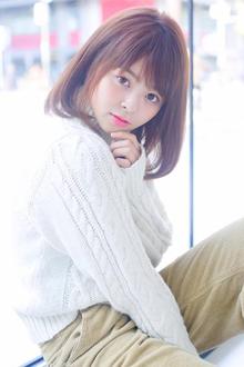 小顔に!ふんわり重めのナチュラルAラインワイドバングボブ|allys hair shinsaibashi OPAのヘアスタイル