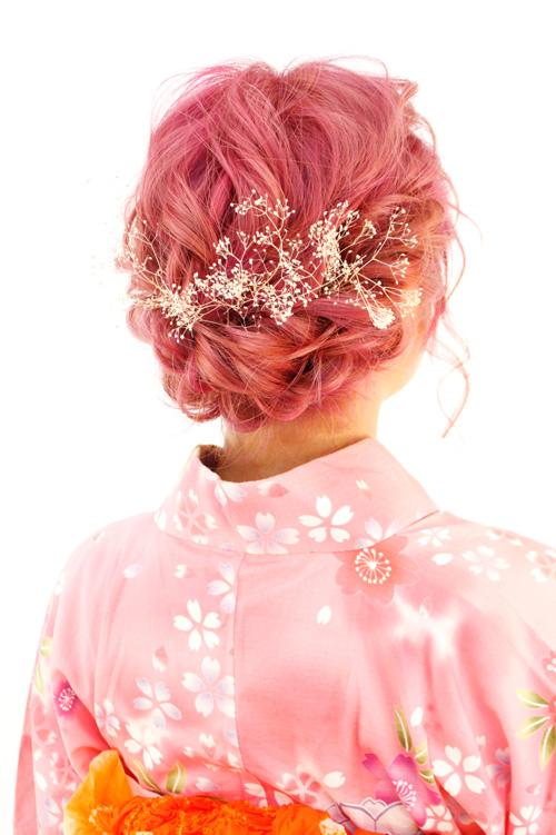 ピンクであわせた浴衣スタイル