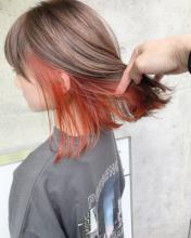 インナーカラーオレンジ ボブ|blue faces 表参道のヘアスタイル