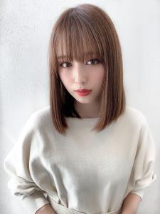 シアーベージュ シースルーぱっつんロブ|CHANDEUR 栄 【個室型サロン】のヘアスタイル