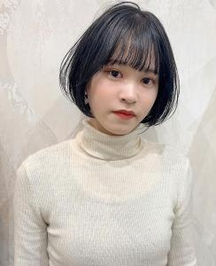 blue-black×ショートボブスタイル|CHANDEUR 栄 【個室型サロン】のヘアスタイル