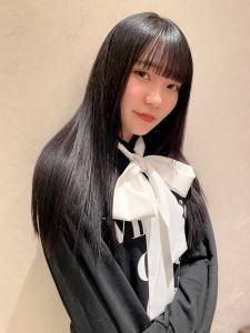 黒髪×ぱっつんbang|CHANDEUR 栄 【個室型サロン】のヘアスタイル