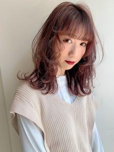 ラベンダーピンク/レイヤーカット|CHANDEUR 栄 【個室型サロン】のヘアスタイル