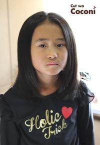 かわいいお子様カット!綺麗な黒髪の女の子〜すっきり削いでいい感じですね。