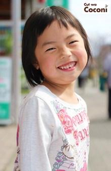 かわいいお子様カット!めっちゃ笑顔がんばったね〜ボブヘアスタイルいい感じ〜|Cut wa Coconi (交野市美容室・美容院)のヘアスタイル