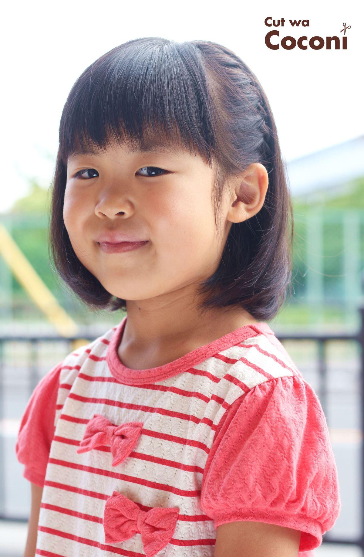 かわいいお子様カット!肩上のボブスタイルとサイド編みこみ☆