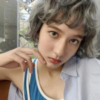 curly BOB&silver gray
