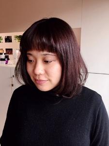 前髪パッツン冬色ショコラオレンジ|hair shantiiのヘアスタイル
