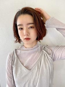 かきあげバングのミニボブ【s39】 Lila by afloatのヘアスタイル