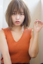 【添田】外ハネワンレン切りっぱなしボブ大人可愛い斜めバング|Maria by afloatのヘアスタイル