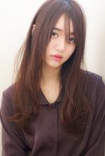 【添田】ワンレン大人ロング 斜めバングモードブルージュs-22|Maria by afloatのヘアスタイル