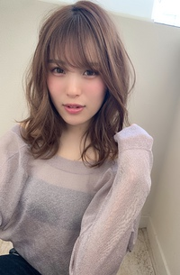 大人かわいい小顔前髪無造作カールウルフイルミナカラーs-64