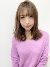 【重山】外ハネレイヤー小顔バングミディ♪S124|Maria by afloatのヘアスタイル