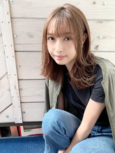 【重山】外ハネ耳掛けレイヤー小顔バングミディ♪S128|Maria by afloatのヘアスタイル
