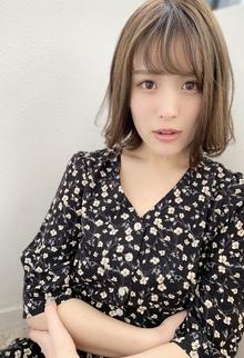 【添田】シースルーバングのアゴラインボブ 大人かわいい外ハネ 129|Maria by afloatのヘアスタイル