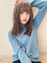 【添田】小顔前髪ネイビーカラーな大人かわいいロング|Maria by afloatのヘアスタイル
