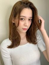 【山田】かきあげバングくびれ外ハネ小顔レイヤーy149 Maria by afloatのヘアスタイル