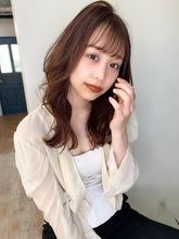 【山田】シースルーバング韓国風エギョモリピンクベージュ|Maria by afloatのヘアスタイル