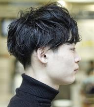 メンズパーマ、無造作ショート、ネープレス、マット|MASHU 北堀江店のヘアスタイル