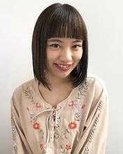 美髪切りっぱなしボブシースルーバング|MASHU 北堀江店のヘアスタイル