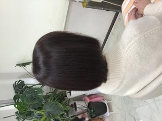 イチゴカラーで白髪も素敵に明るく染まります。