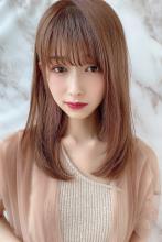 小顔シースルーバング 大人ミディ ココアブラウン|MINX 銀座二丁目店 徳永 利彦のヘアスタイル