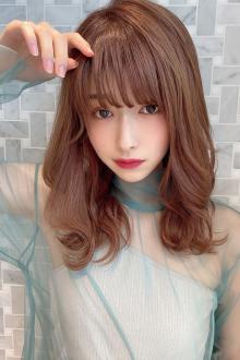 小顔シースルーバング 大人かわいいミディ ココアブラウン|MINX 銀座二丁目店のヘアスタイル