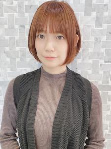 小顔オレンジカラーハイライトカラースリークショート|MINX 銀座二丁目店のヘアスタイル