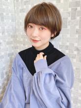 小顔オリーブカラー ハイライトカラー スリークショート|MINX 銀座二丁目店のヘアスタイル