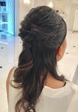 ルーズ編み込みハーフアップ|美容室/美容院 Run アールアン  平塚のヘアスタイル