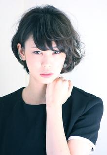 耳かけ無造作パーマボブ|RENJISHI KICHIJOJIのヘアスタイル