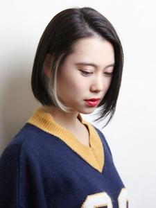 インナーカラーが映えるストレートボブ|RENJISHI KICHIJOJIのヘアスタイル