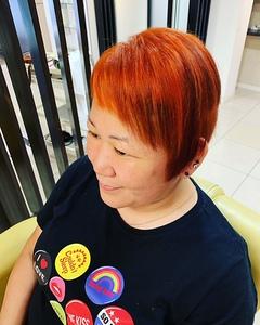 トレンドのオレンジで自分らしく|大阪上本町駅から徒歩1分の美容室|ロンロンシャ 都ホテル店のヘアスタイル